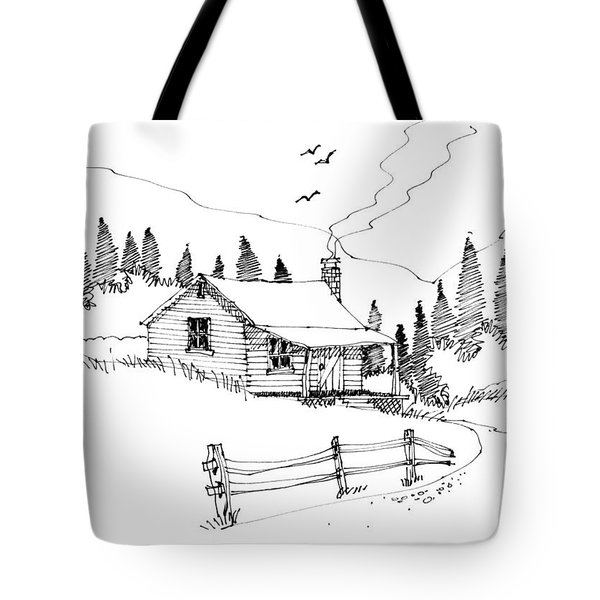 Tote Bag featuring the drawing Imagination 1993 - Mountain Cabin by Richard Wambach