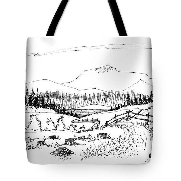 Tote Bag featuring the drawing Imagination 1993 - Symphony Vision by Richard Wambach