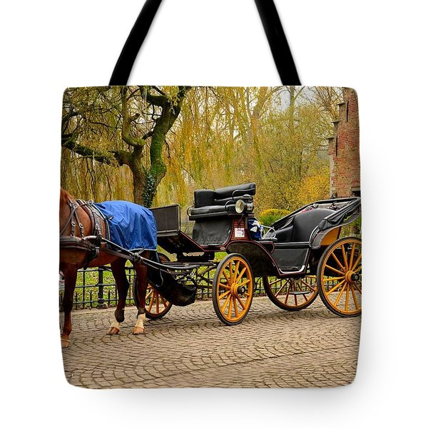 Immaculate Horse And Carriage Bruges Belgium Tote Bag