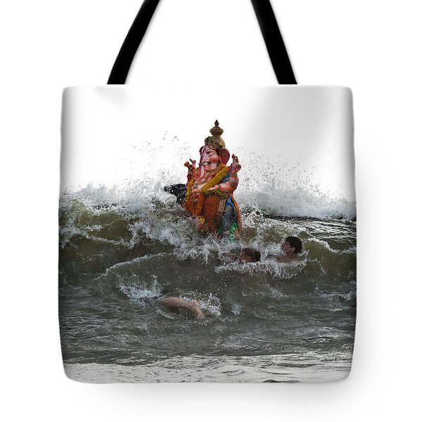 Tote Bag featuring the photograph Immersion Of Lord Ganesha by Sonny Marcyan