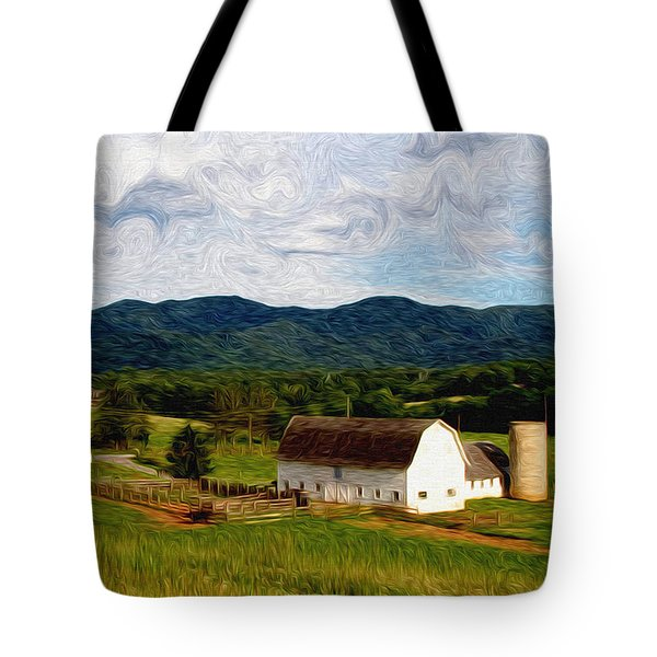 Tote Bag featuring the painting Impressionist Farming by John Haldane
