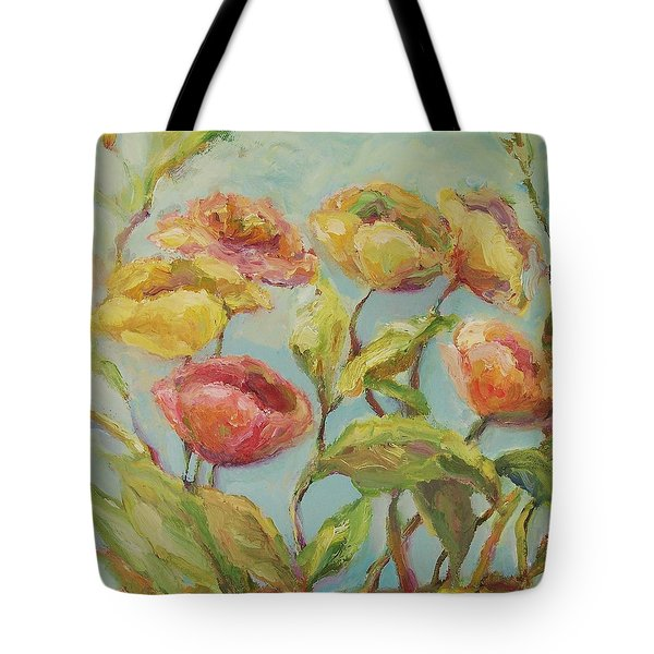 Tote Bag featuring the painting Impressionist Floral Painting by Mary Wolf