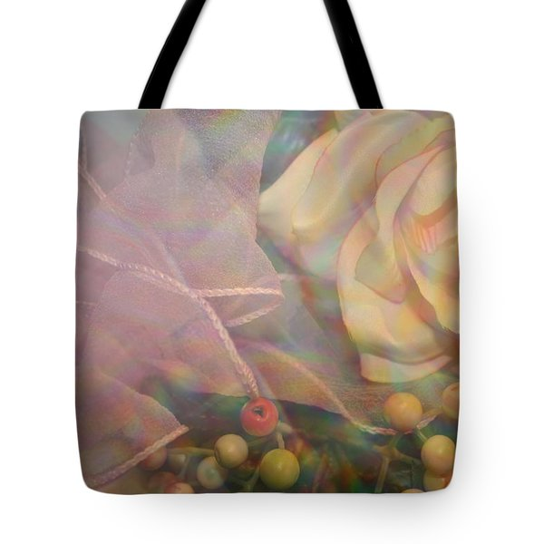 Tote Bag featuring the photograph Impressionistic Pink Rose With Ribbon by Dora Sofia Caputo Photographic Art and Design