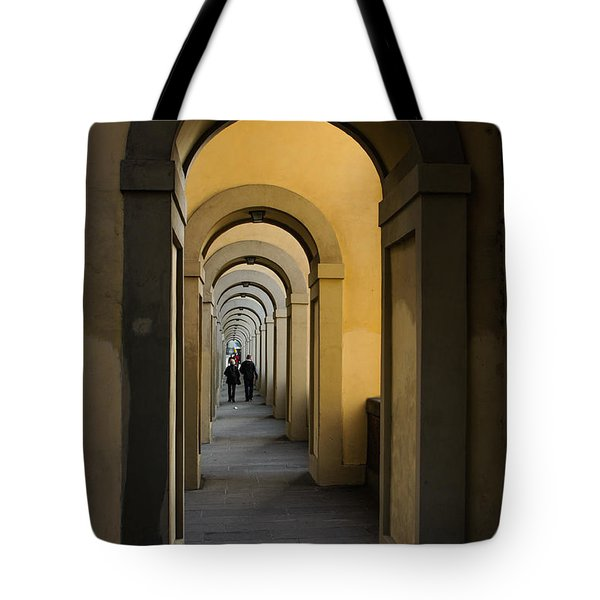 In A Distance - Vasari Corridor In Florence Italy  Tote Bag