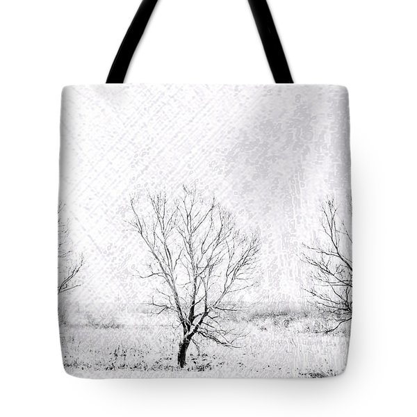 In A Line. Winter Trees Tote Bag by Jenny Rainbow