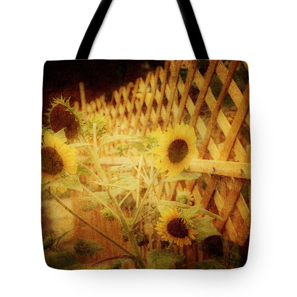 Sunflowers And Lattice Tote Bag by Toni Hopper