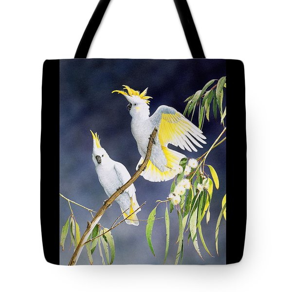 In A Shaft Of Sunlight - Sulphur-crested Cockatoos Tote Bag