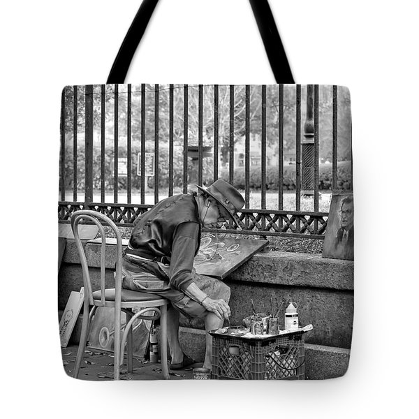 In Another World Monochrome Tote Bag by Steve Harrington