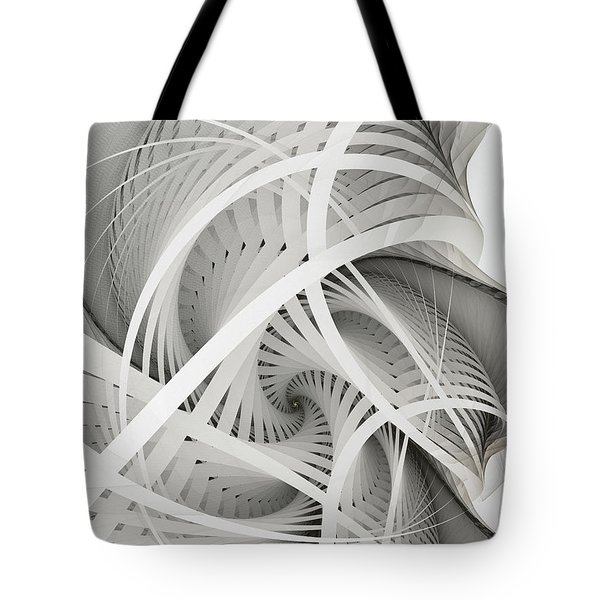 In Betweens-white Fractal Spiral Tote Bag
