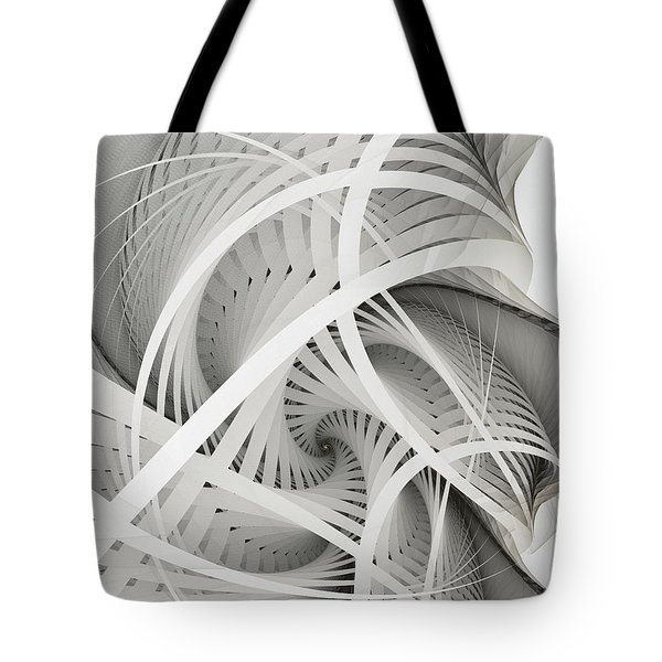In Betweens-white Fractal Spiral Tote Bag