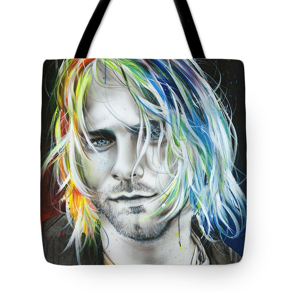 Kurt Cobain - ' In Debt For My Thirst ' Tote Bag by Christian Chapman Art