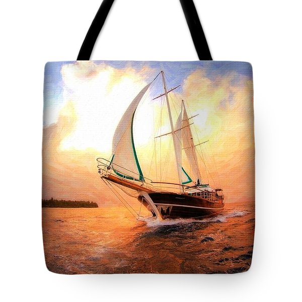 In Full Sail - Oil Painting Edition Tote Bag by Lilia D