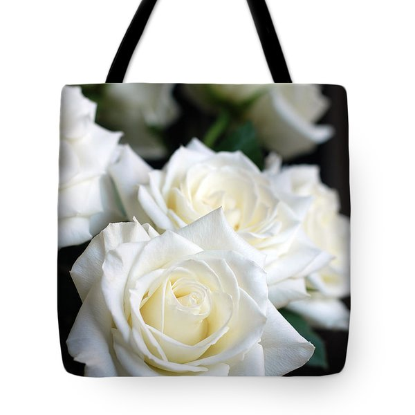 In My Dreams - White Roses Tote Bag by Connie Fox