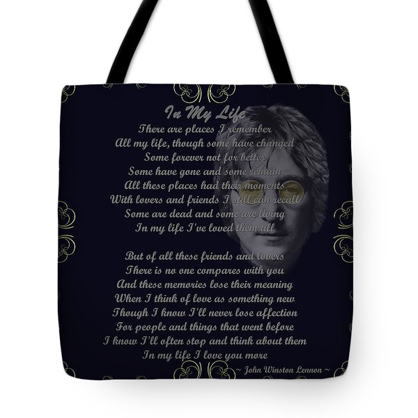 In My Life Golden Scroll Tote Bag