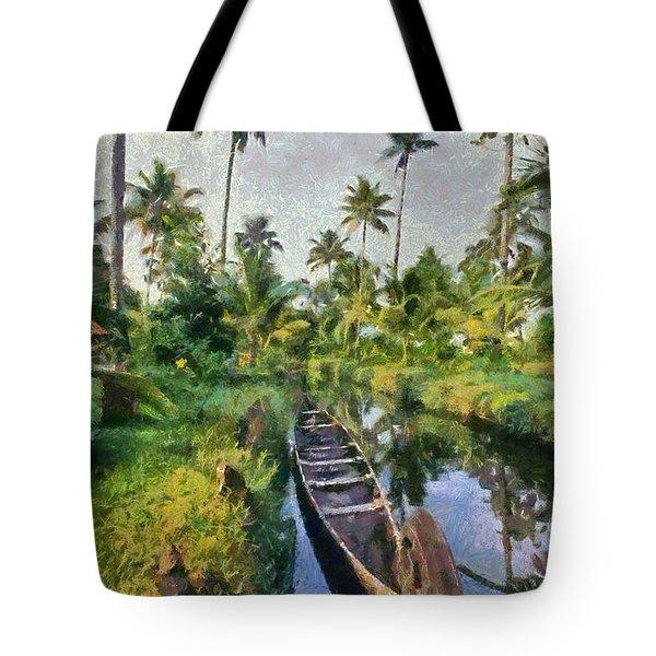 In The Backwaters Of Kerala Tote Bag
