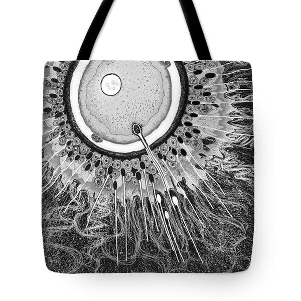 Tote Bag featuring the digital art In The Beginning by Carol Jacobs