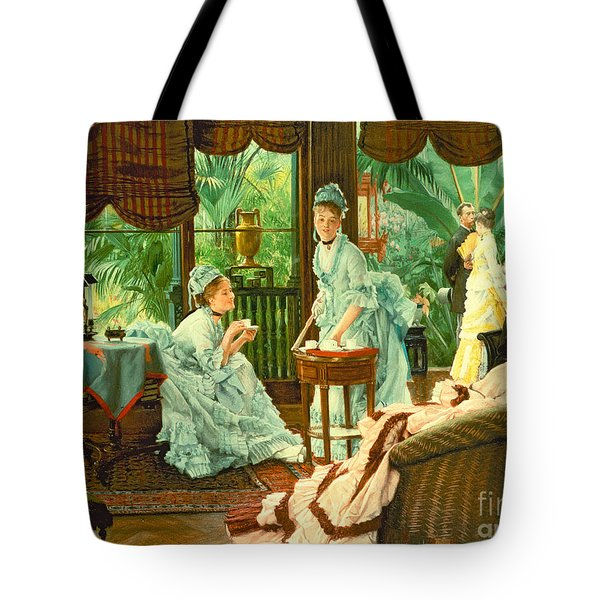 In The Conservatory  Tote Bag by James Jacques Tissot