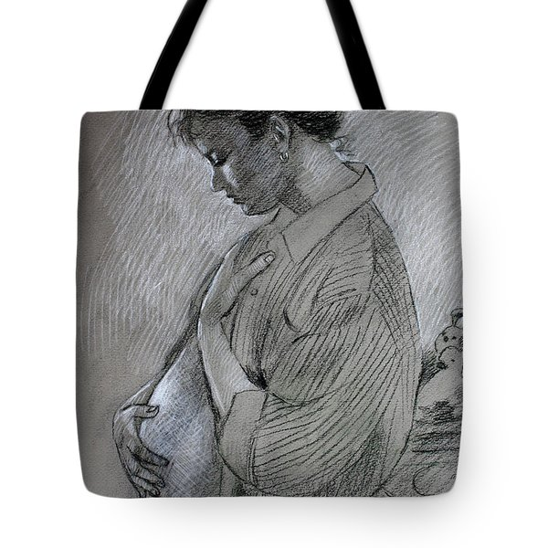 Tote Bag featuring the drawing In The Family Way by Viola El