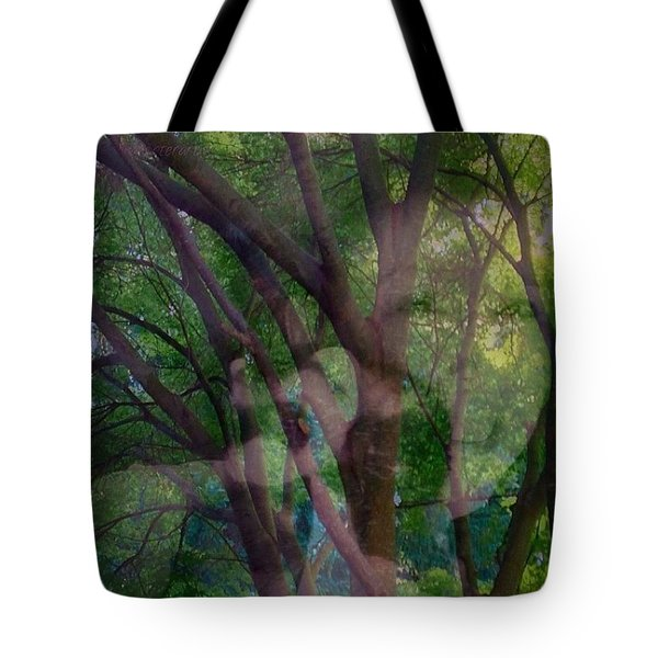 In The Forest Self-portrait With Ferret Tote Bag by Anna Porter