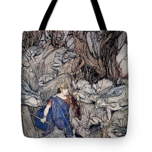 In The Forked Glen Into Which He Slipped At Night-fall He Was Surrounded By Giant Toads Tote Bag by Arthur Rackham