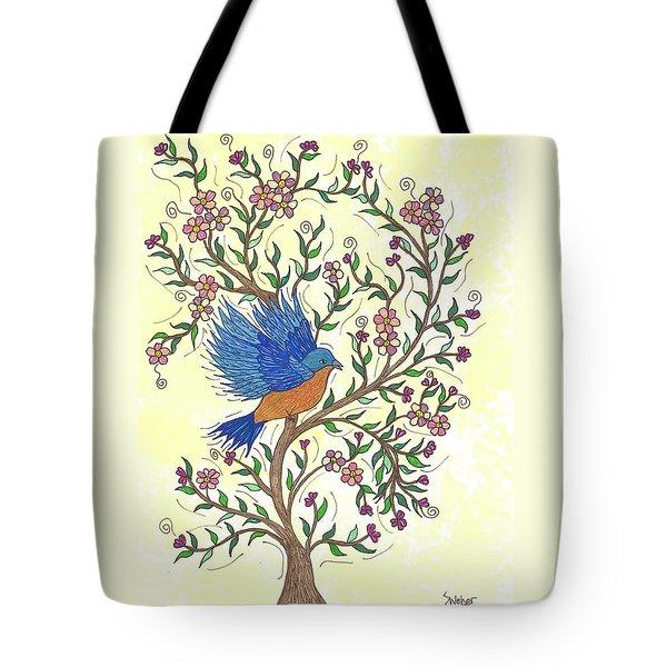 In The Garden - Bluebird Tote Bag by Susie WEBER