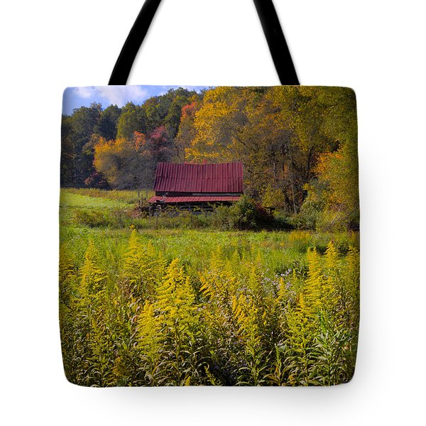 In The Heart Of Autumn Tote Bag by Debra and Dave Vanderlaan
