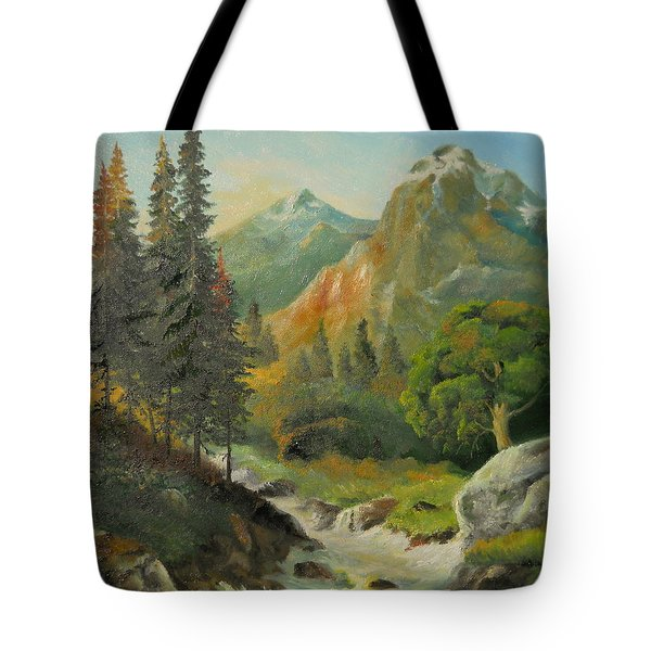 In The Mountains  Tote Bag by Sorin Apostolescu