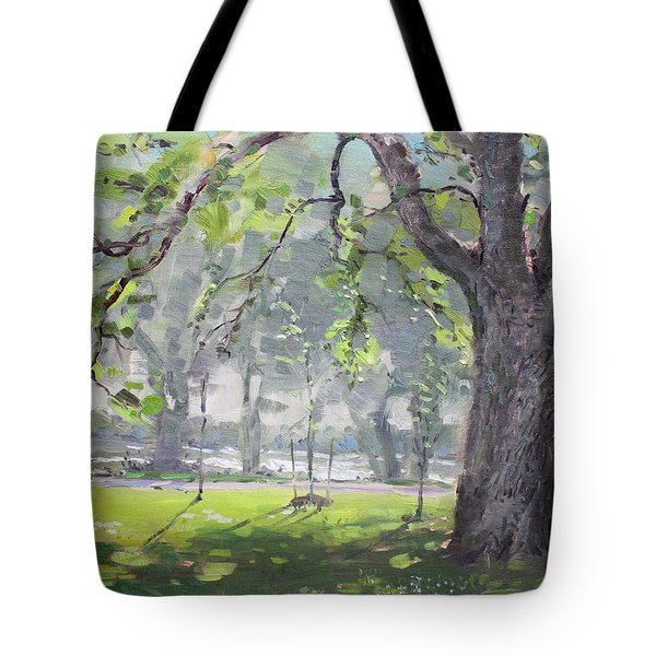 In The Shade Of The Big Tree Tote Bag by Ylli Haruni