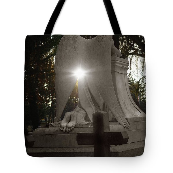 In The Shadow Of His Light Tote Bag by Peter Piatt