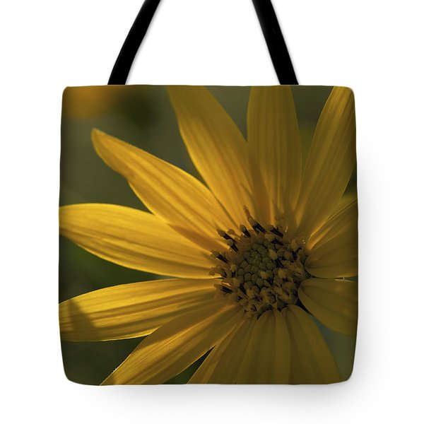 Tote Bag featuring the photograph In The Shadows - A Yellow Wildflower by Jane Eleanor Nicholas
