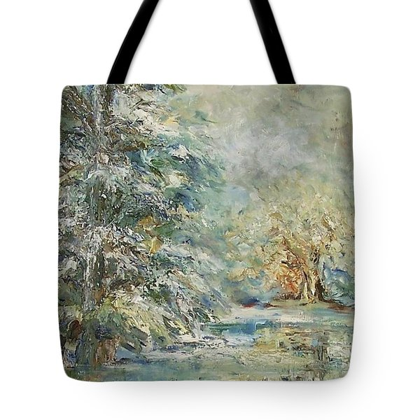 In The Snowy Silence Tote Bag by Mary Wolf