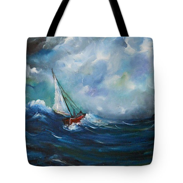 Tote Bag featuring the painting In The Storm by Dorothy Maier