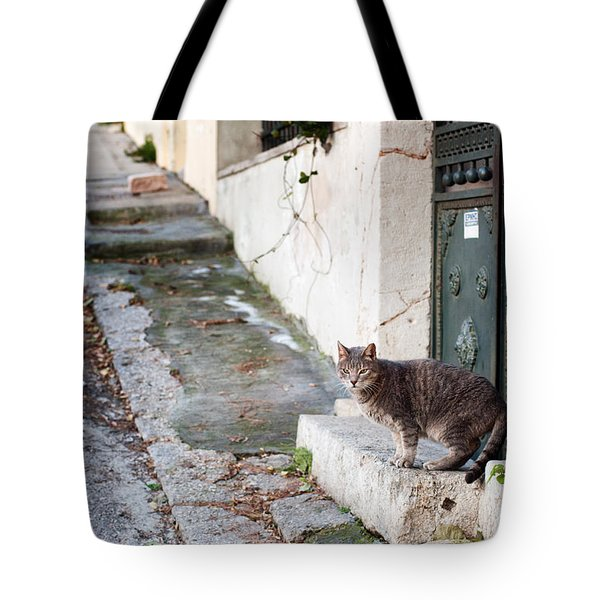 Tote Bag featuring the photograph In The Streets Of Athens by Laura Melis