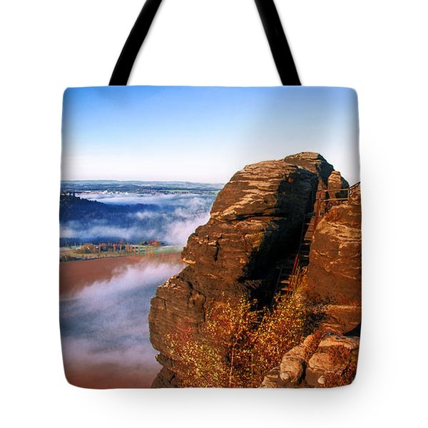 In The Sun Glowing Rock On The Lilienstein Tote Bag