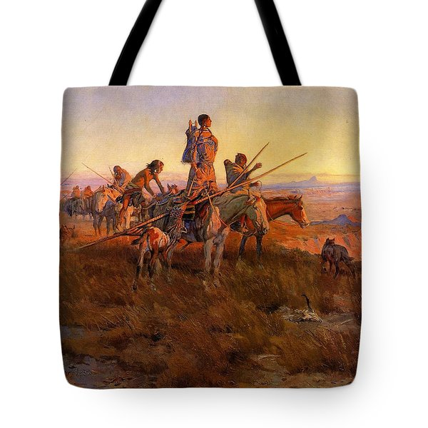 In The Wake Of The Buffalo Hunters Tote Bag by Charles Russell