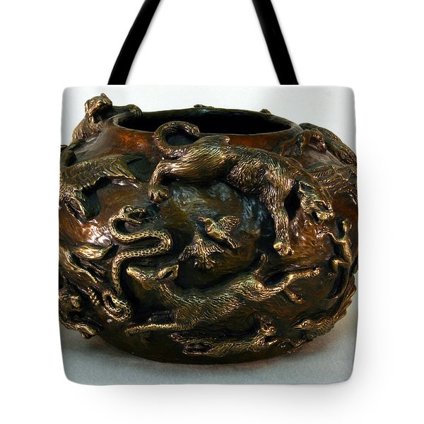 In The Wild - Bronze Bowl With Mountain Lion Tote Bag by Dawn Senior-Trask