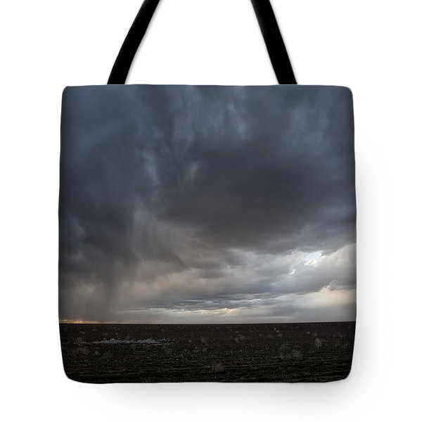 Incoming Storm Over A Cotton Field Tote Bag