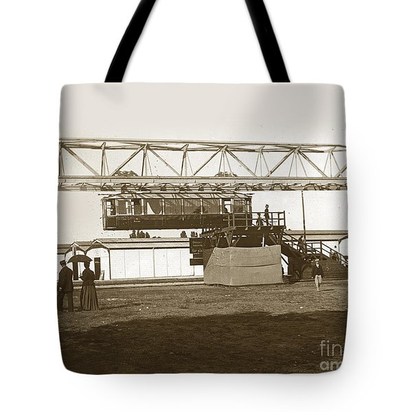 Tote Bag featuring the photograph Incredible Hanging Railway  1900 by California Views Mr Pat Hathaway Archives