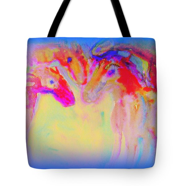 Horse Family Coming Out Of Blue  Tote Bag
