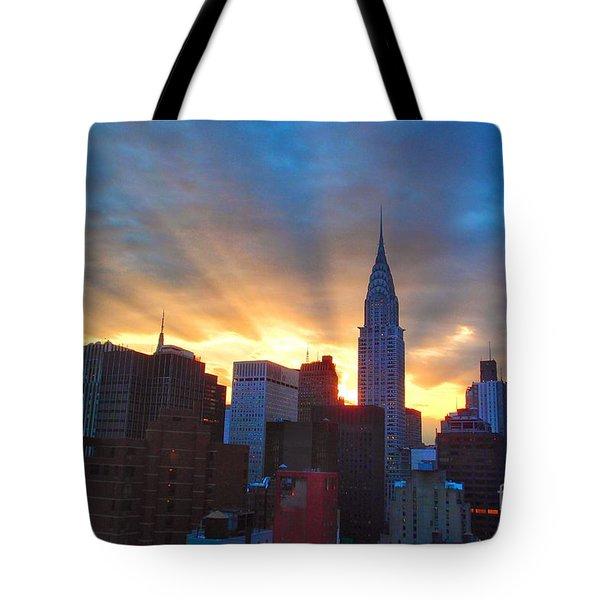 Incredible New York Skyline Sunset Tote Bag by Miriam Danar