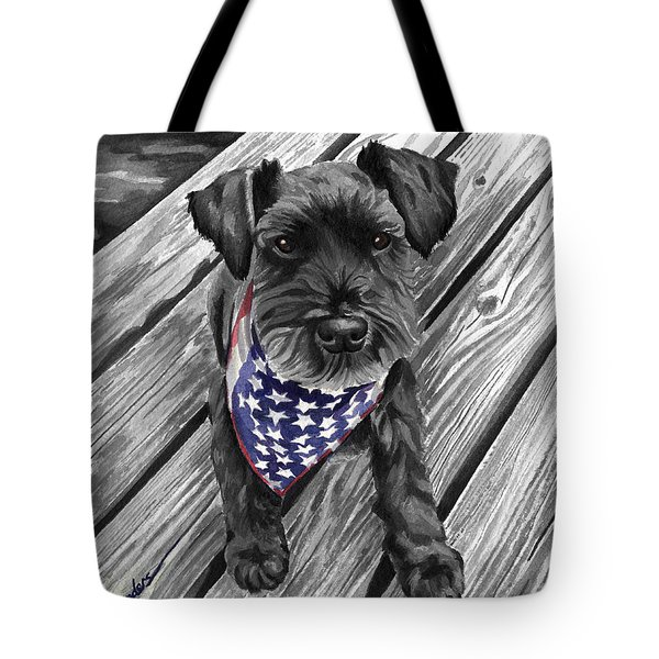 Watercolor Schnauzer Black Dog Tote Bag