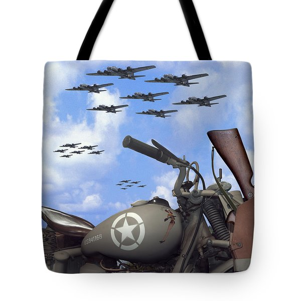 Indian 841 And The B-17 Bomber Sq Tote Bag