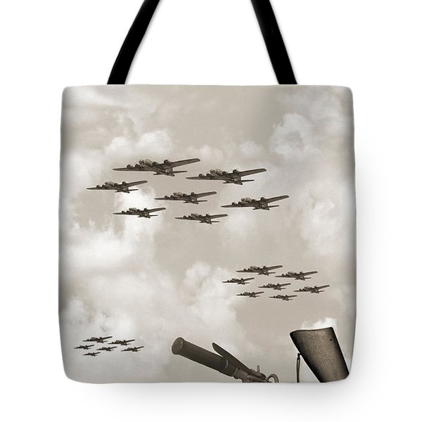 Indian 841 And The B-17 Panoramic Sepia Tote Bag