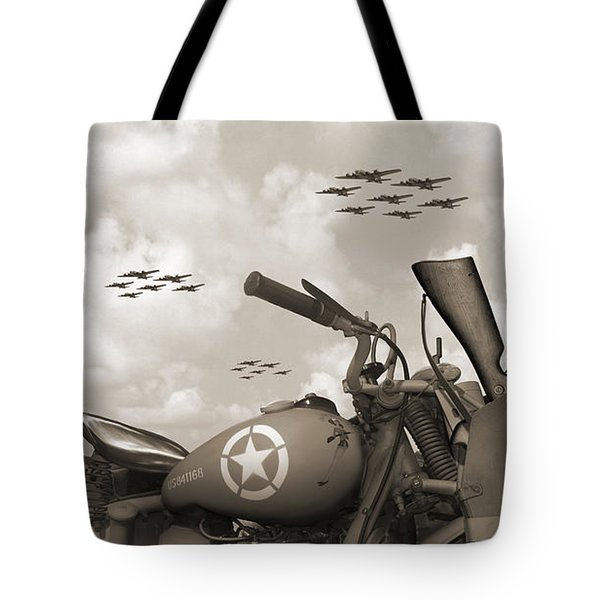 Indian 841 And The B-17 Panoramic Sepia Tote Bag by Mike McGlothlen