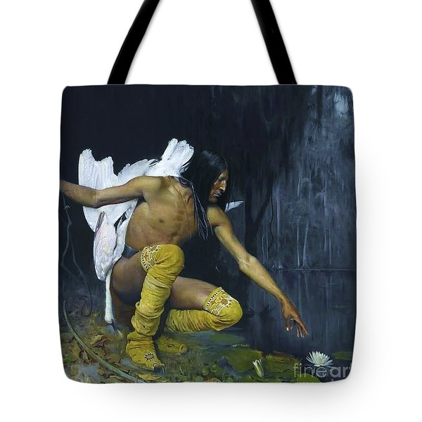 Indian And The Lily Tote Bag by Pg Reproductions