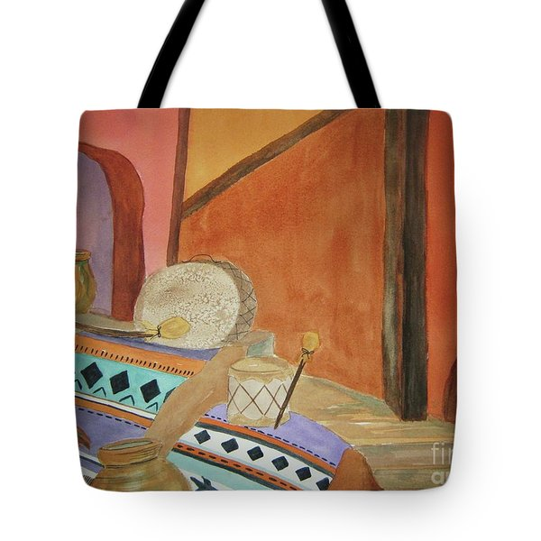 Tote Bag featuring the painting Indian Blankets Jars And Drums by Ellen Levinson