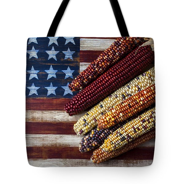 Indian Corn On American Flag Tote Bag