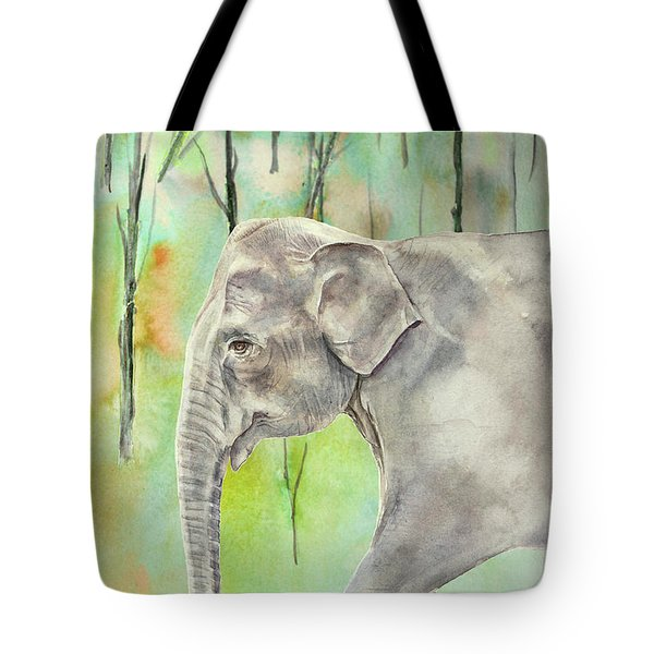 Tote Bag featuring the painting Indian Elephant by Elizabeth Lock