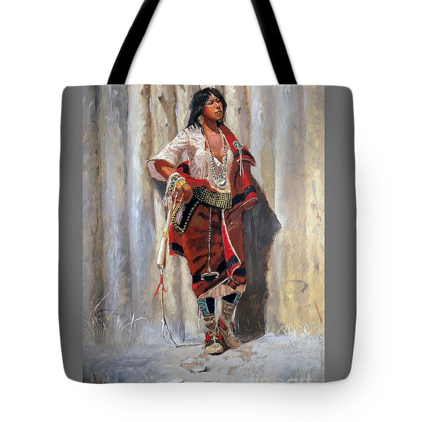 Indian Maid At Stockade By Charles Marion Russell Tote Bag