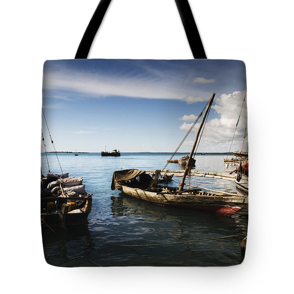 Indian Ocean Dhow At Stone Town Port Tote Bag by Amyn Nasser